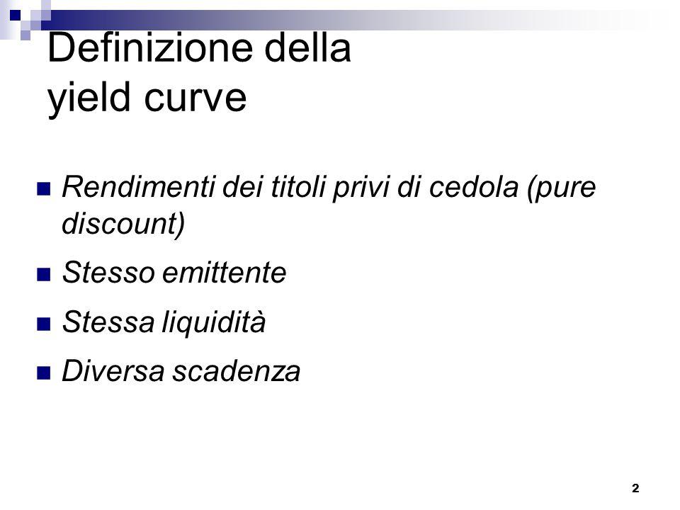 2 Definizione della yield curve Rendimenti dei titoli privi di cedola (pure discount) Stesso emittente Stessa liquidità Diversa scadenza
