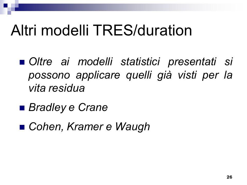 26 Altri modelli TRES/duration Oltre ai modelli statistici presentati si possono applicare quelli già visti per la vita residua Bradley e Crane Cohen, Kramer e Waugh