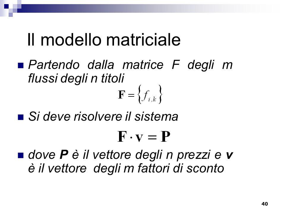 40 Il modello matriciale Partendo dalla matrice F degli m flussi degli n titoli Si deve risolvere il sistema dove P è il vettore degli n prezzi e v è il vettore degli m fattori di sconto