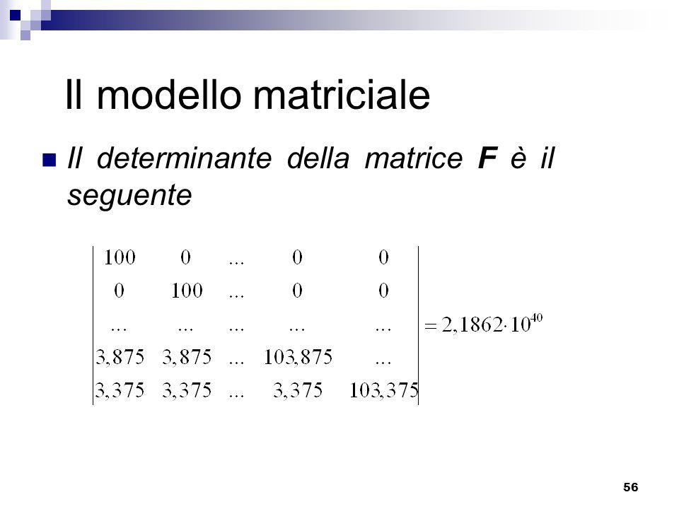 56 Il modello matriciale Il determinante della matrice F è il seguente