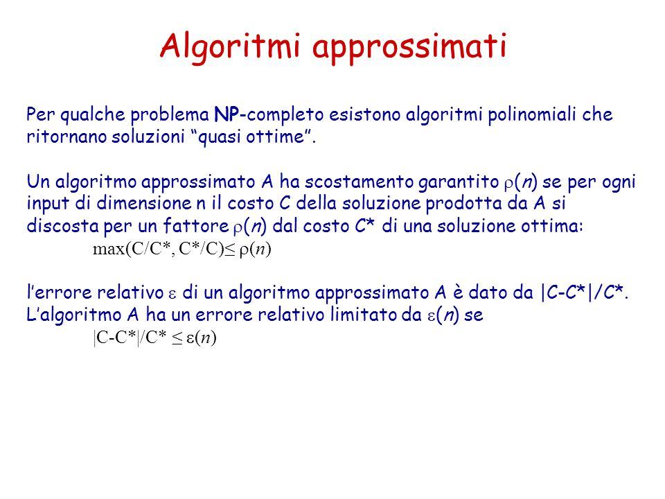 """Algoritmi approssimati Per qualche problema NP-completo esistono algoritmi polinomiali che ritornano soluzioni """"quasi ottime"""". Un algoritmo approssima"""