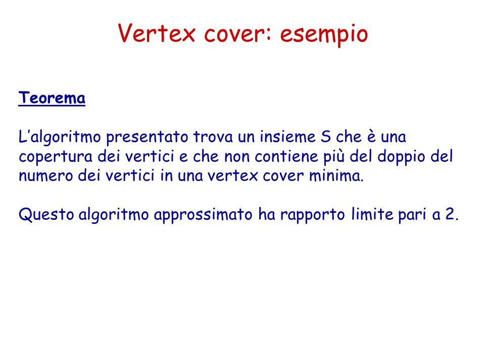 Teorema L'algoritmo presentato trova un insieme S che è una copertura dei vertici e che non contiene più del doppio del numero dei vertici in una vertex cover minima.