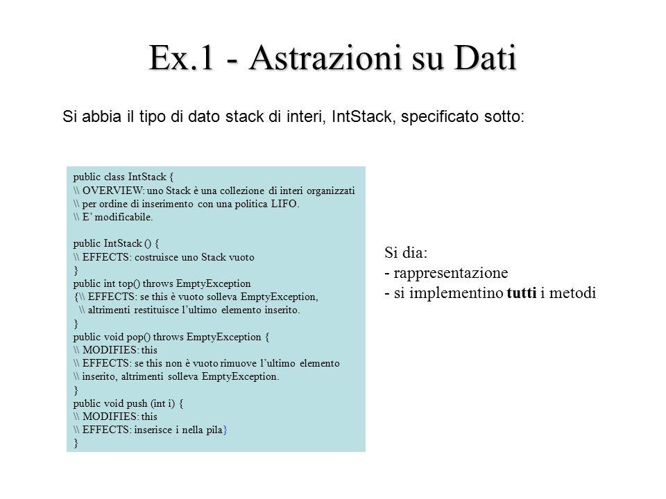 Ex.1 - Astrazioni su Dati Si abbia il tipo di dato stack di interi, IntStack, specificato sotto: public class IntStack { \\ OVERVIEW: uno Stack è una collezione di interi organizzati \\ per ordine di inserimento con una politica LIFO.