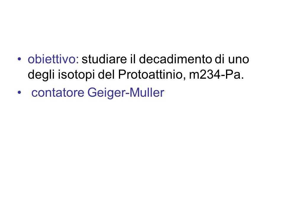 obiettivo: studiare il decadimento di uno degli isotopi del Protoattinio, m234-Pa. contatore Geiger-Muller