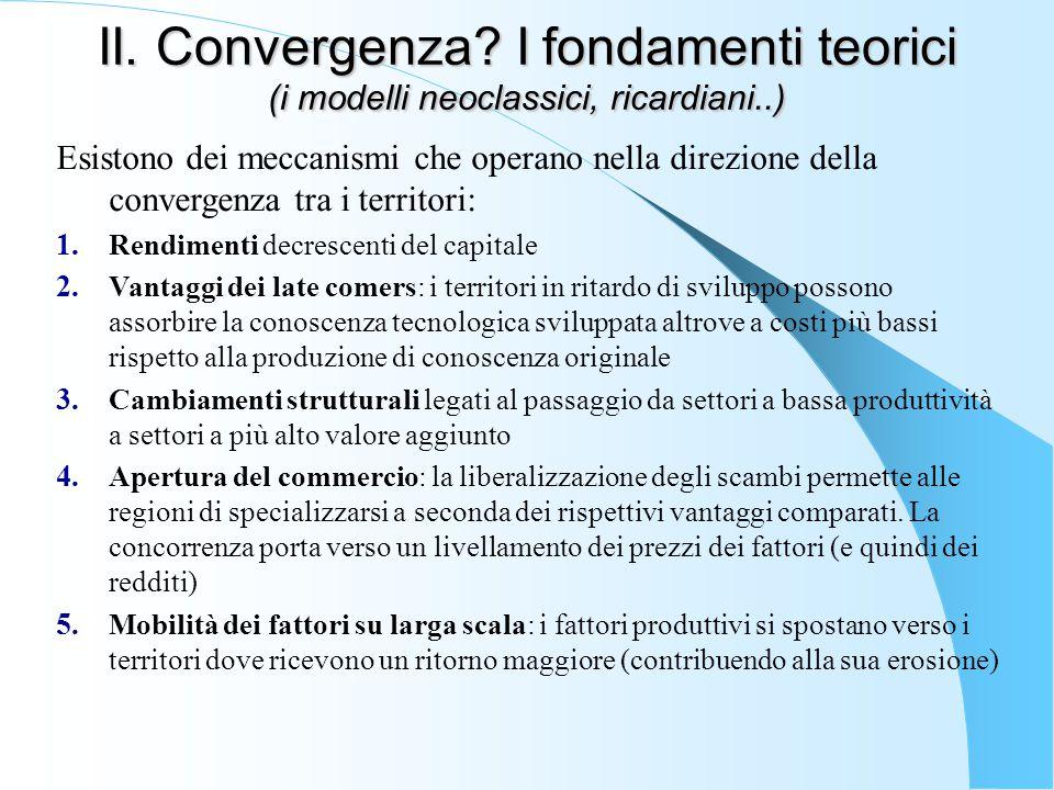 II. Convergenza? I fondamenti teorici (i modelli neoclassici, ricardiani..) Esistono dei meccanismi che operano nella direzione della convergenza tra