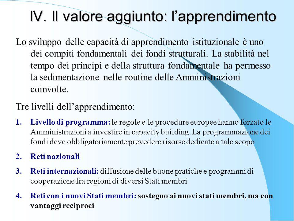 IV. Il valore aggiunto: l'apprendimento Lo sviluppo delle capacità di apprendimento istituzionale è uno dei compiti fondamentali dei fondi strutturali