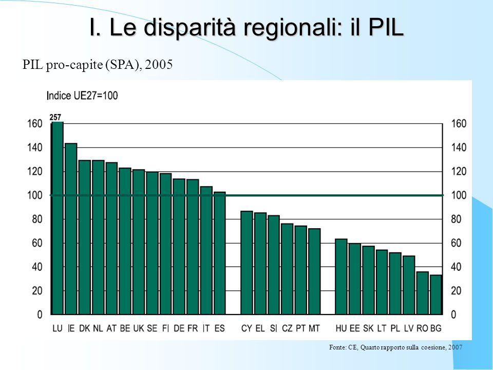 I. Le disparità regionali: il PIL PIL pro-capite (SPA), 2005 Fonte: CE, Quarto rapporto sulla coesione, 2007