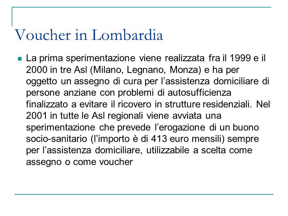 Voucher in Lombardia La prima sperimentazione viene realizzata fra il 1999 e il 2000 in tre Asl (Milano, Legnano, Monza) e ha per oggetto un assegno d