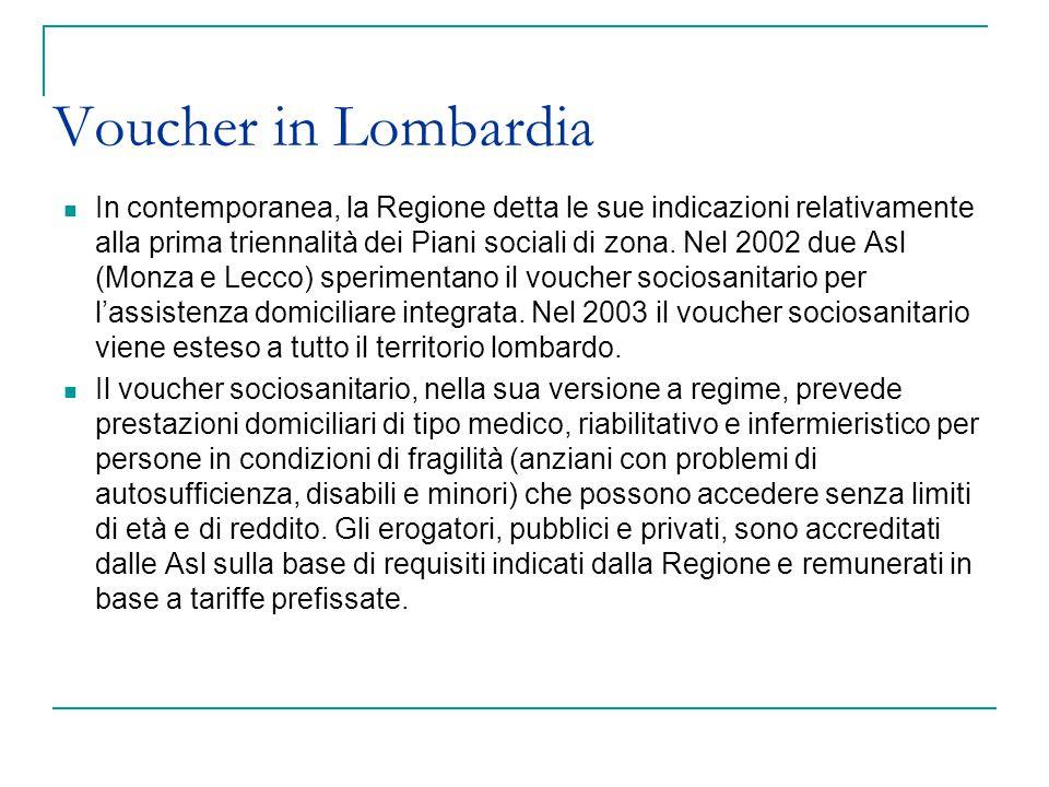 Voucher in Lombardia In contemporanea, la Regione detta le sue indicazioni relativamente alla prima triennalità dei Piani sociali di zona. Nel 2002 du