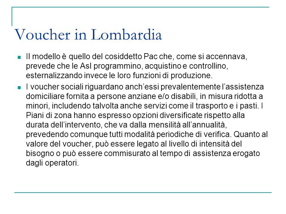 Voucher in Lombardia Il modello è quello del cosiddetto Pac che, come si accennava, prevede che le Asl programmino, acquistino e controllino, esternal
