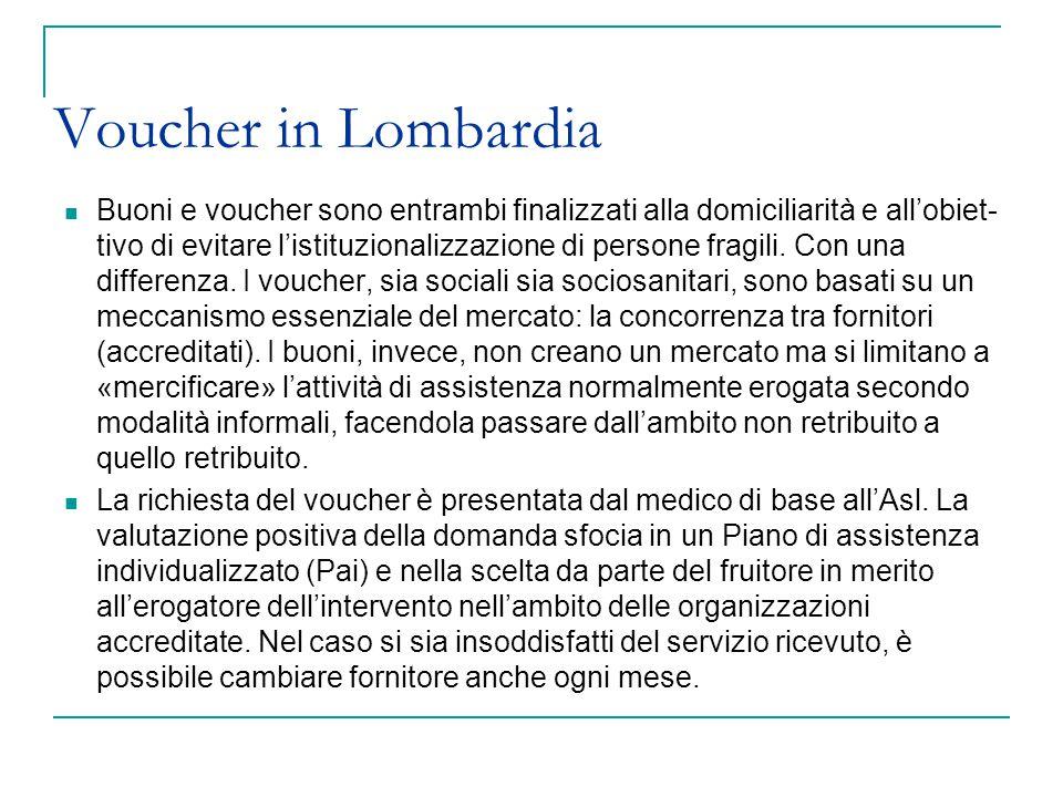 Voucher in Lombardia Buoni e voucher sono entrambi finalizzati alla domiciliarità e all'obiet- tivo di evitare l'istituzionalizzazione di persone frag