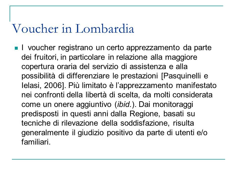 Voucher in Lombardia I voucher registrano un certo apprezzamento da parte dei fruitori, in particolare in relazione alla maggiore copertura oraria del