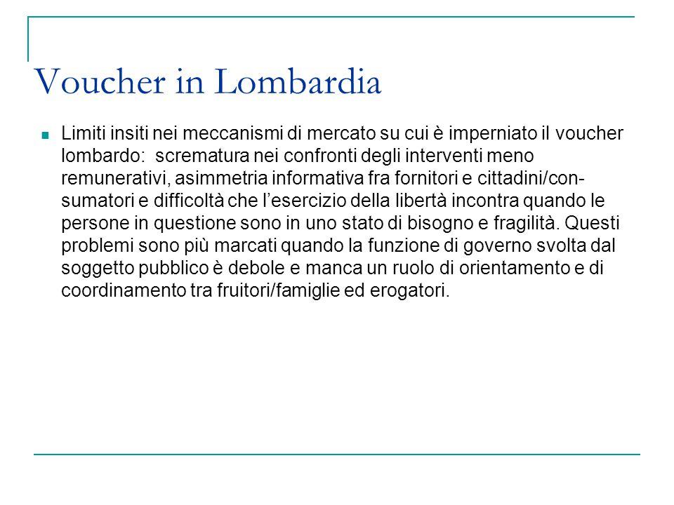 Voucher in Lombardia Limiti insiti nei meccanismi di mercato su cui è imperniato il voucher lombardo: scrematura nei confronti degli interventi meno r