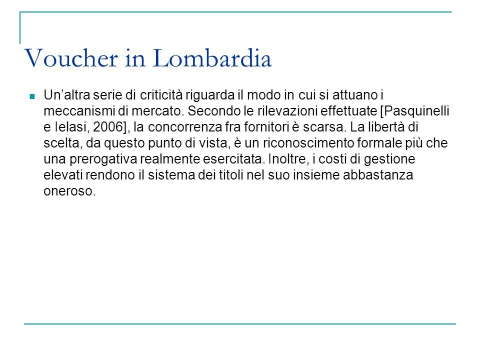 Voucher in Lombardia Un'altra serie di criticità riguarda il modo in cui si attuano i meccanismi di mercato. Secondo le rilevazioni effettuate [Pasqui