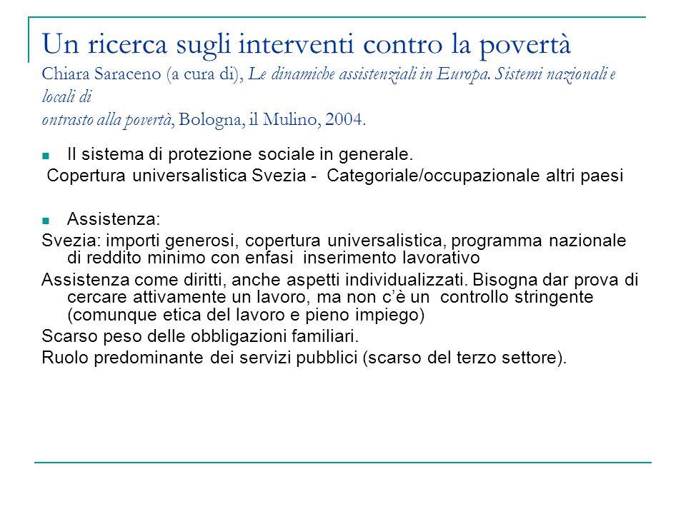 Un ricerca sugli interventi contro la povertà Chiara Saraceno (a cura di), Le dinamiche assistenziali in Europa. Sistemi nazionali e locali di ontrast