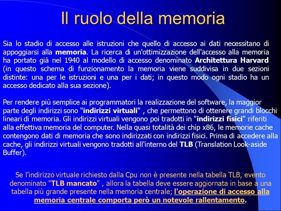 Il ruolo della memoria Sia lo stadio di accesso alle istruzioni che quello di accesso ai dati necessitano di appoggiarsi alla memoria. La ricerca di u