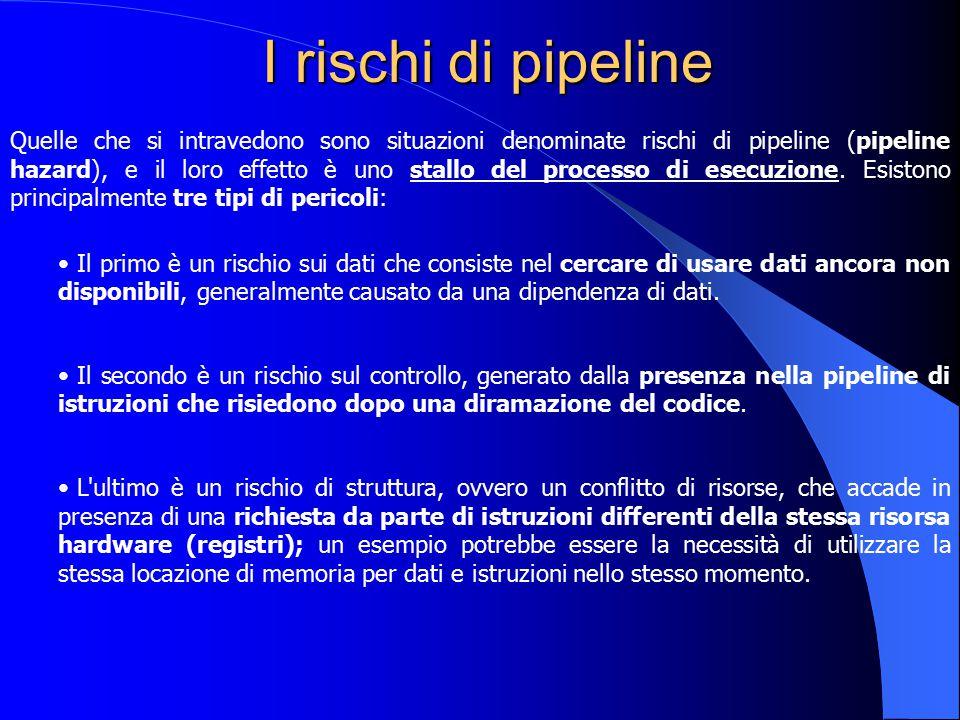 I rischi di pipeline Quelle che si intravedono sono situazioni denominate rischi di pipeline (pipeline hazard), e il loro effetto è uno stallo del pro