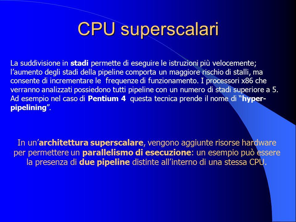 CPU superscalari In un'architettura superscalare, vengono aggiunte risorse hardware per permettere un parallelismo di esecuzione: un esempio può esser