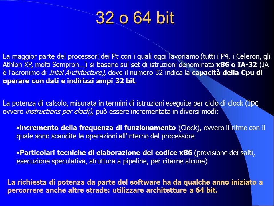32 o 64 bit La maggior parte dei processori dei Pc con i quali oggi lavoriamo (tutti i P4, i Celeron, gli Athlon XP, molti Sempron...) si basano sul s