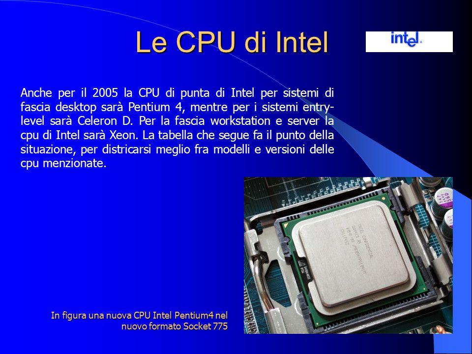 Le CPU di Intel Anche per il 2005 la CPU di punta di Intel per sistemi di fascia desktop sarà Pentium 4, mentre per i sistemi entry- level sarà Celero