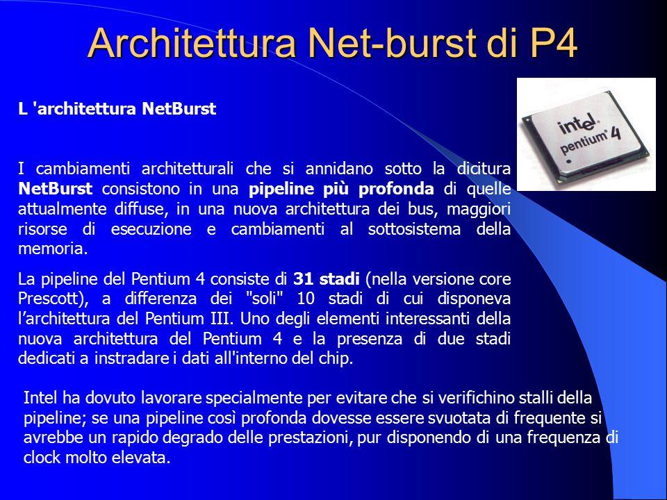Architettura Net-burst di P4 L 'architettura NetBurst I cambiamenti architetturali che si annidano sotto la dicitura NetBurst consistono in una pipeli
