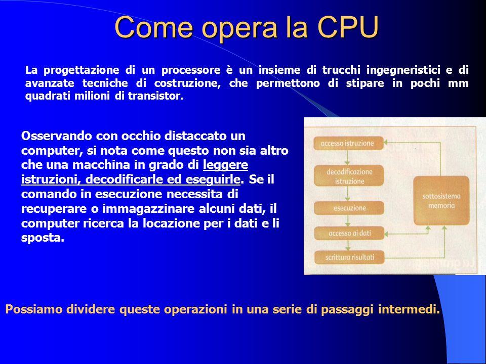 E ancora … Bus Quad Pumped: il bus di sistema dei processori Pentium IV opera a 100 (200) Mhz ma è del tipo quad pumped, cioè offre un quantitativo di bandwidth equivalente a quello di un sistema con bus a 400 (800) Mhz, quindi pari a 3,2 (6,4) Gbytes al secondo come massimo teorico.