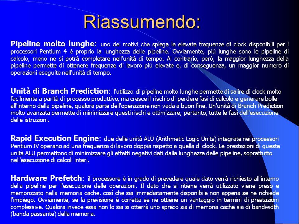 Riassumendo: Pipeline molto lunghe: uno dei motivi che spiega le elevate frequenze di clock disponibili per i processori Pentium 4 è proprio la lunghe