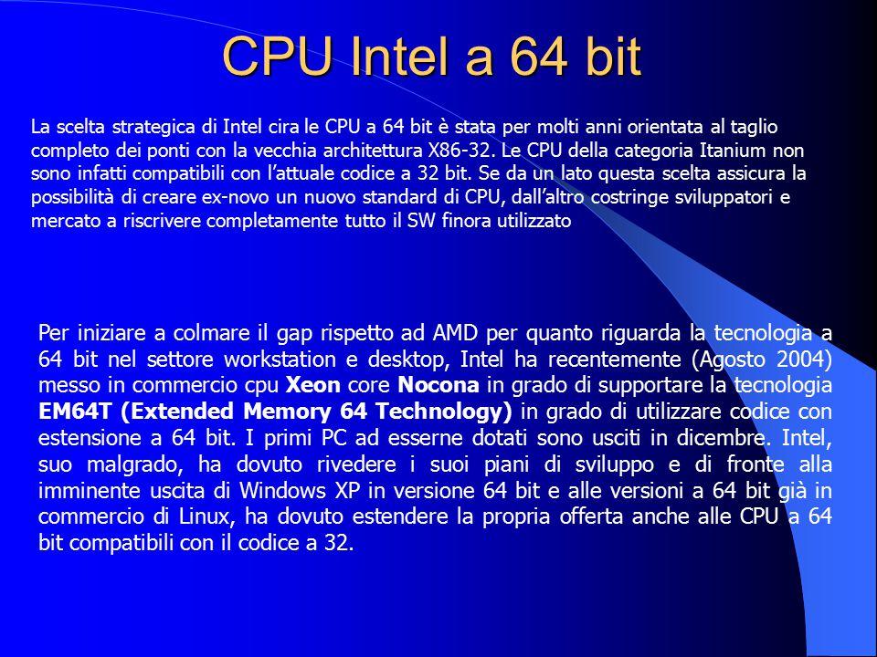 CPU Intel a 64 bit Per iniziare a colmare il gap rispetto ad AMD per quanto riguarda la tecnologia a 64 bit nel settore workstation e desktop, Intel h