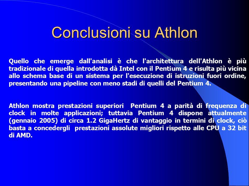 Conclusioni su Athlon Quello che emerge dall'analisi è che l'architettura dell'Athlon è più tradizionale di quella introdotta dà Intel con il Pentium