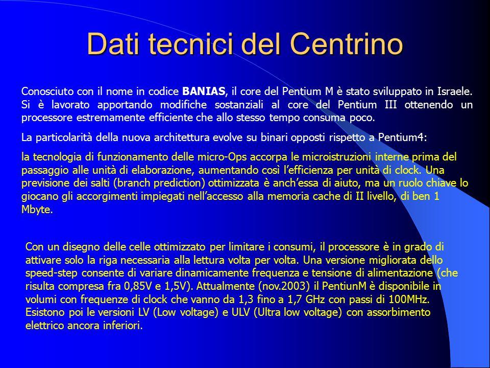 Dati tecnici del Centrino Conosciuto con il nome in codice BANIAS, il core del Pentium M è stato sviluppato in Israele. Si è lavorato apportando modif