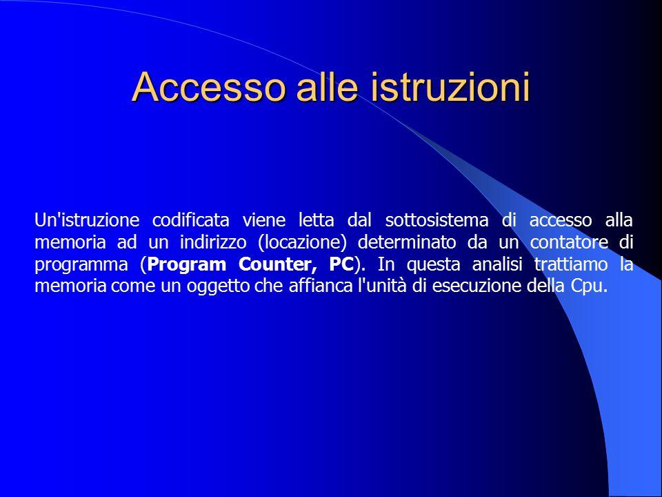 Accesso alle istruzioni Un'istruzione codificata viene letta dal sottosistema di accesso alla memoria ad un indirizzo (locazione) determinato da un co
