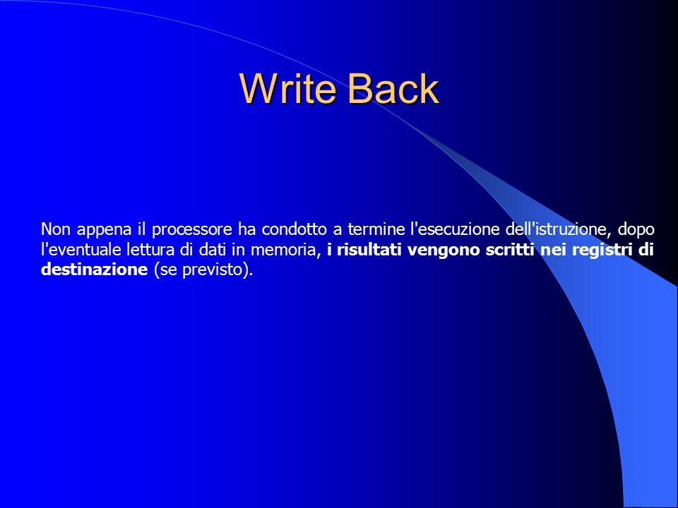 Write Back Non appena il processore ha condotto a termine l'esecuzione dell'istruzione, dopo l'eventuale lettura di dati in memoria, i risultati vengo