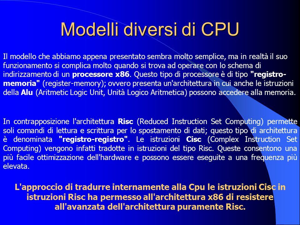 Modelli diversi di CPU Il modello che abbiamo appena presentato sembra molto semplice, ma in realtà il suo funzionamento si complica molto quando si t