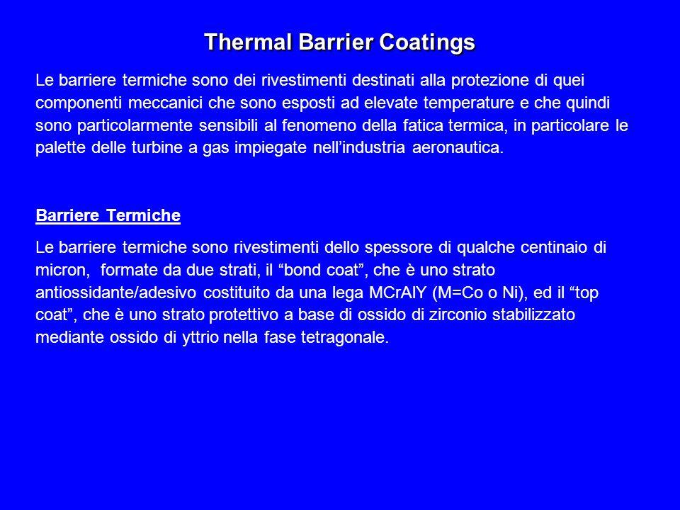 Thermal Barrier Coatings Le barriere termiche sono dei rivestimenti destinati alla protezione di quei componenti meccanici che sono esposti ad elevate temperature e che quindi sono particolarmente sensibili al fenomeno della fatica termica, in particolare le palette delle turbine a gas impiegate nell'industria aeronautica.