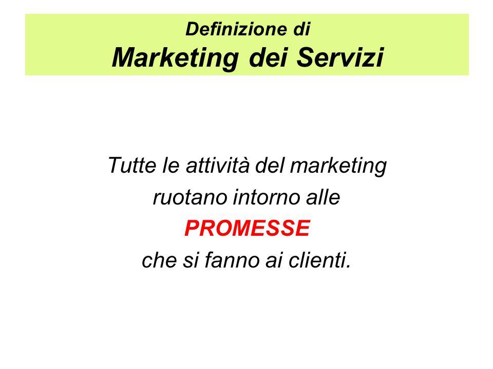 Definizione di Marketing dei Servizi Tutte le attività del marketing ruotano intorno alle PROMESSE che si fanno ai clienti.