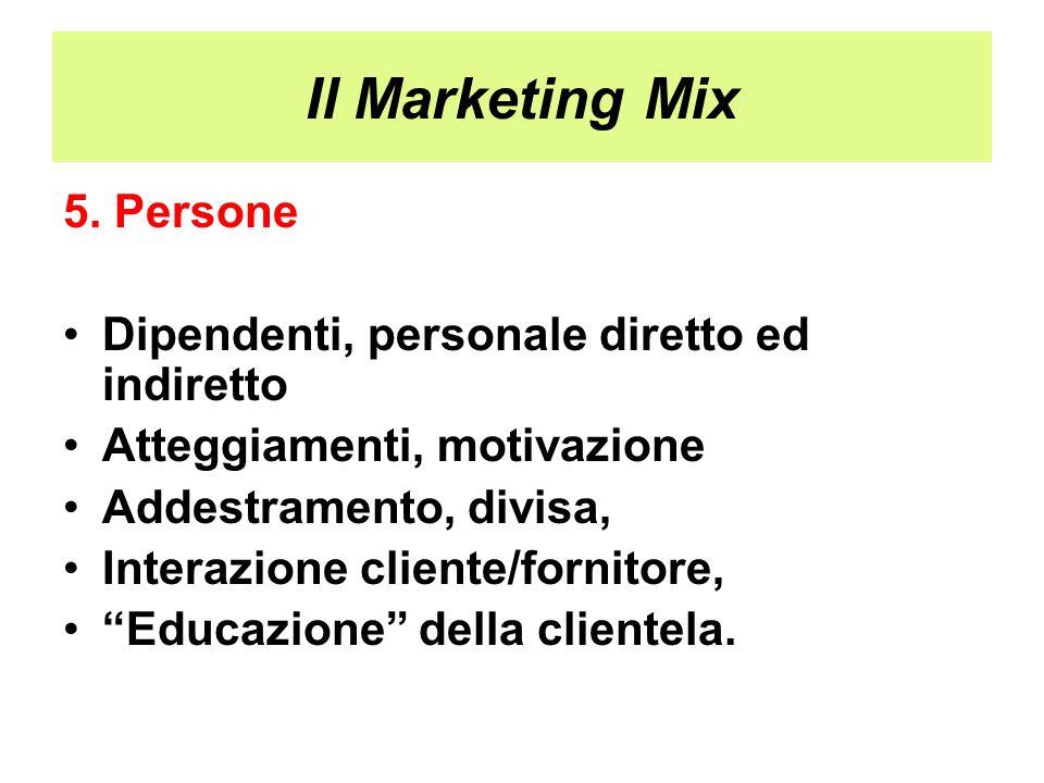 Il Marketing Mix 5. Persone Dipendenti, personale diretto ed indiretto Atteggiamenti, motivazione Addestramento, divisa, Interazione cliente/fornitore