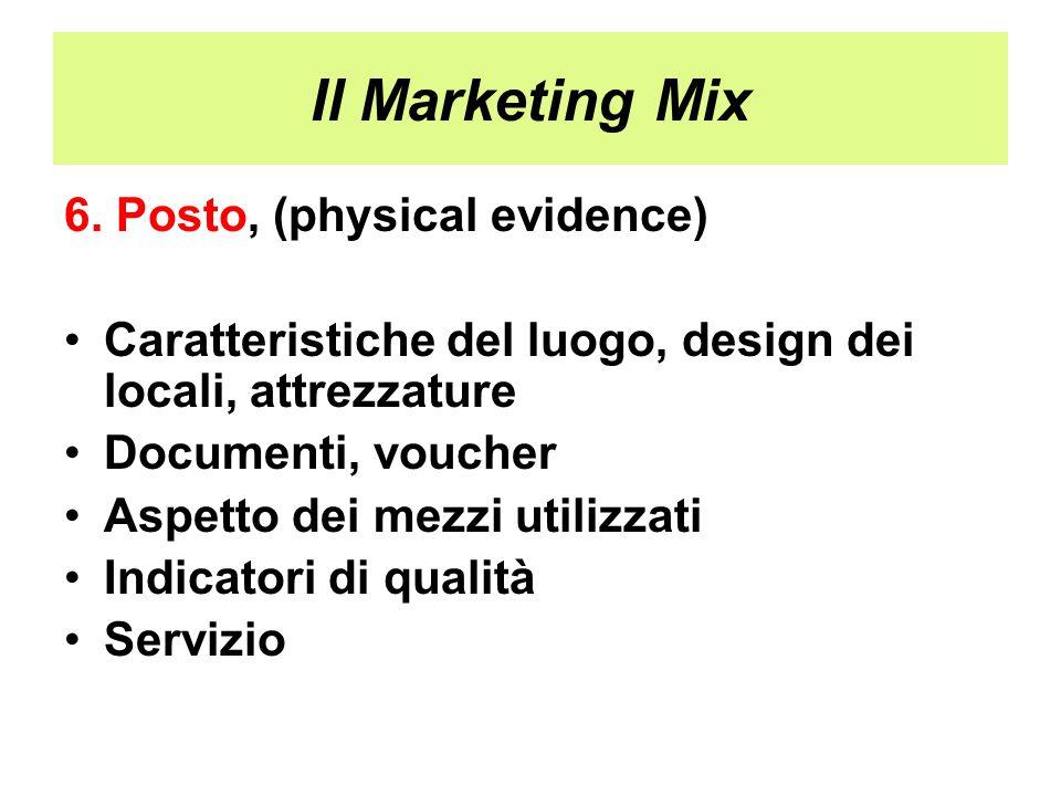 Il Marketing Mix 6. Posto, (physical evidence) Caratteristiche del luogo, design dei locali, attrezzature Documenti, voucher Aspetto dei mezzi utilizz