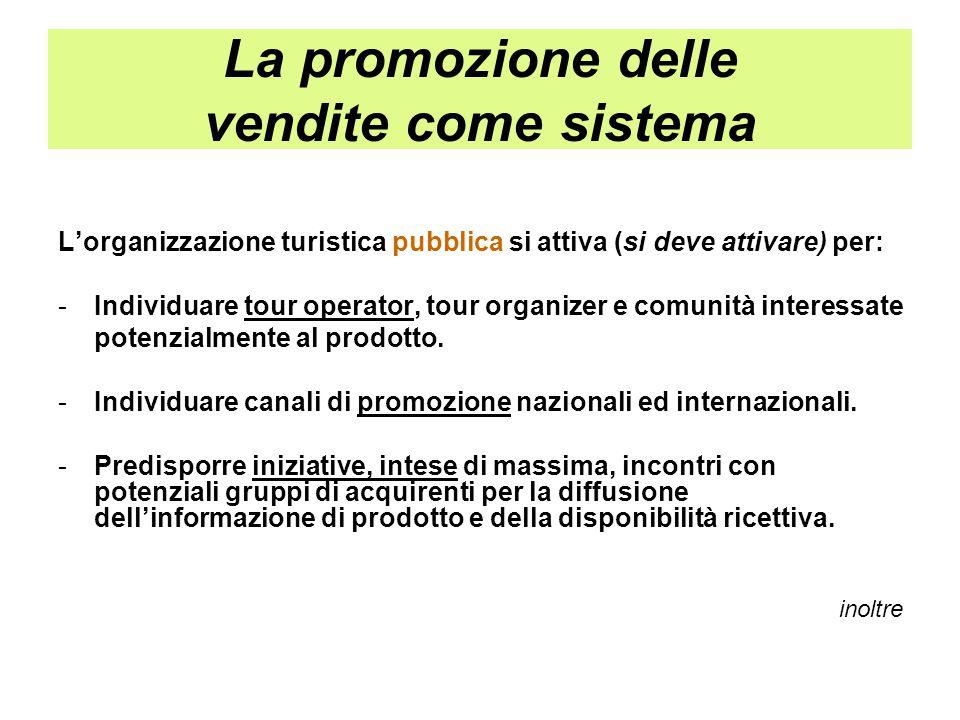 La promozione delle vendite come sistema L'organizzazione turistica pubblica si attiva (si deve attivare) per: - Individuare tour operator, tour organ