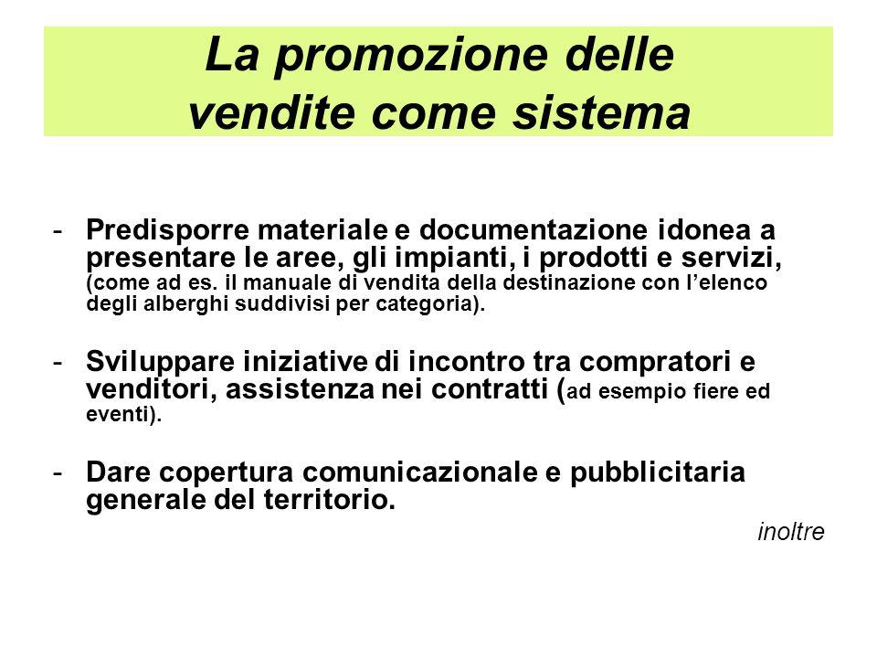 La promozione delle vendite come sistema -Predisporre materiale e documentazione idonea a presentare le aree, gli impianti, i prodotti e servizi, (com