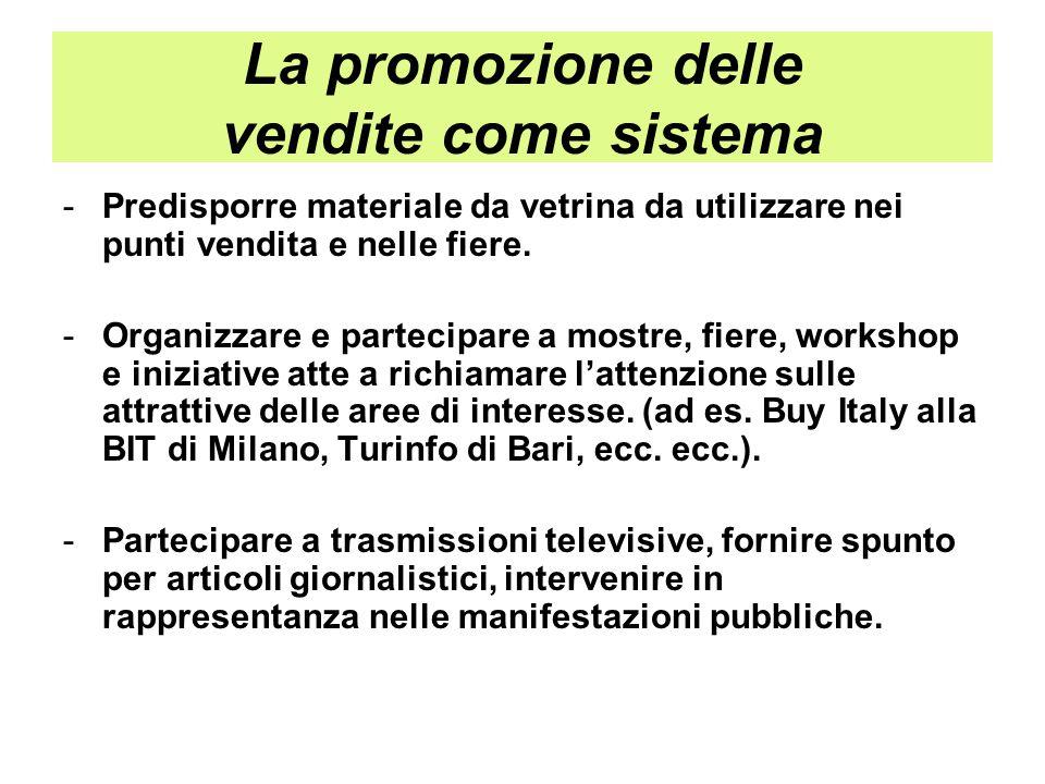 La promozione delle vendite come sistema -Predisporre materiale da vetrina da utilizzare nei punti vendita e nelle fiere. -Organizzare e partecipare a