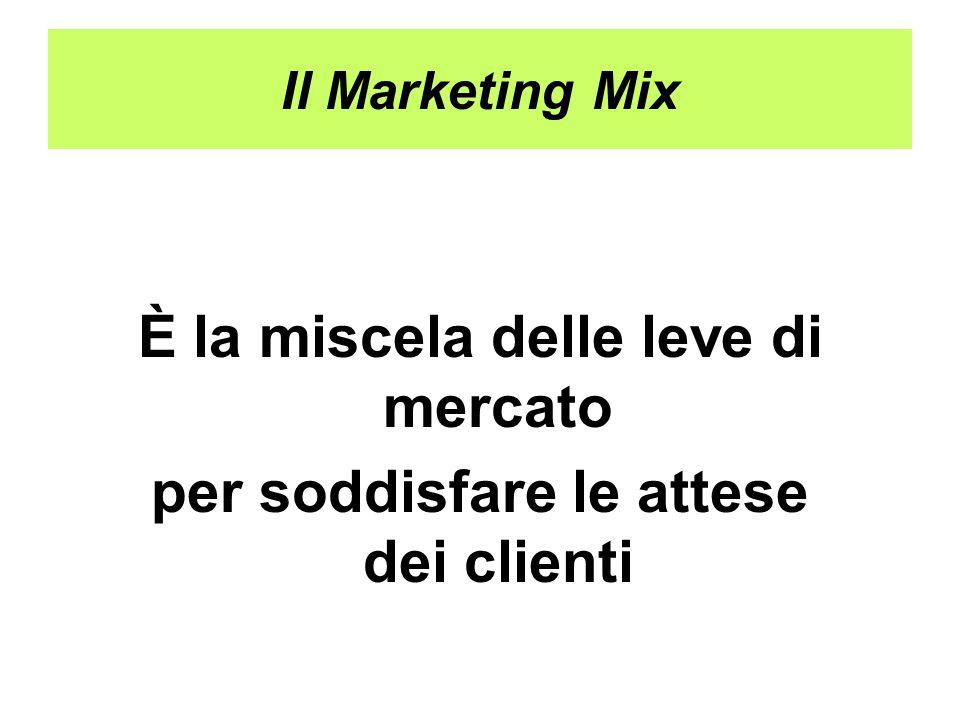 Il Marketing Mix È la miscela delle leve di mercato per soddisfare le attese dei clienti