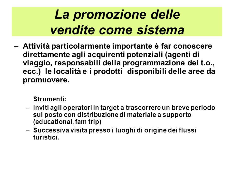 La promozione delle vendite come sistema –Attività particolarmente importante è far conoscere direttamente agli acquirenti potenziali (agenti di viagg