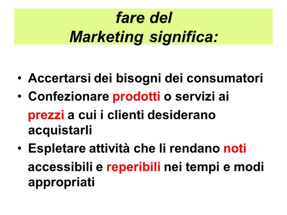 fare del Marketing significa: Accertarsi dei bisogni dei consumatori Confezionare prodotti o servizi ai prezzi a cui i clienti desiderano acquistarli