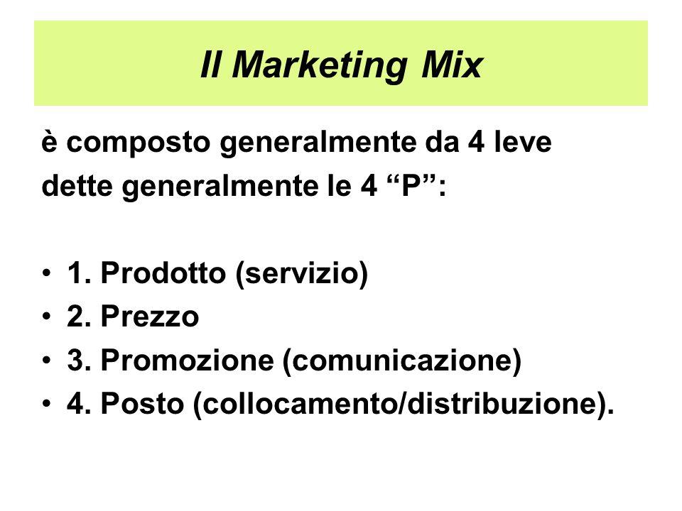 """Il Marketing Mix è composto generalmente da 4 leve dette generalmente le 4 """"P"""": 1. Prodotto (servizio) 2. Prezzo 3. Promozione (comunicazione) 4. Post"""