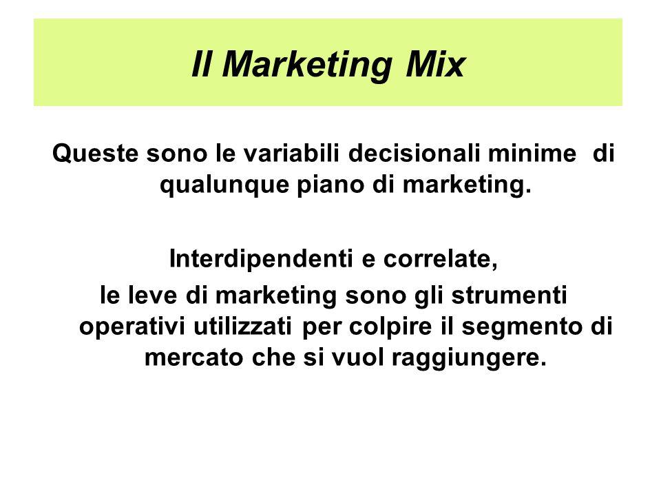 Il Marketing Mix Queste sono le variabili decisionali minime di qualunque piano di marketing. Interdipendenti e correlate, le leve di marketing sono g