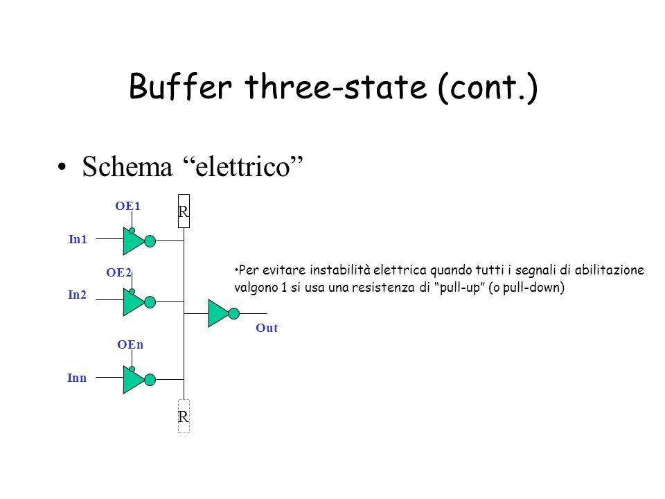 """Buffer three-state (cont.) Schema """"elettrico"""" Per evitare instabilità elettrica quando tutti i segnali di abilitazione valgono 1 si usa una resistenza"""