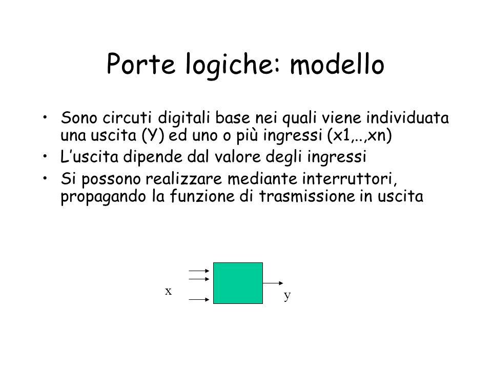 Porte logiche: modello Sono circuti digitali base nei quali viene individuata una uscita (Y) ed uno o più ingressi (x1,..,xn) L'uscita dipende dal val