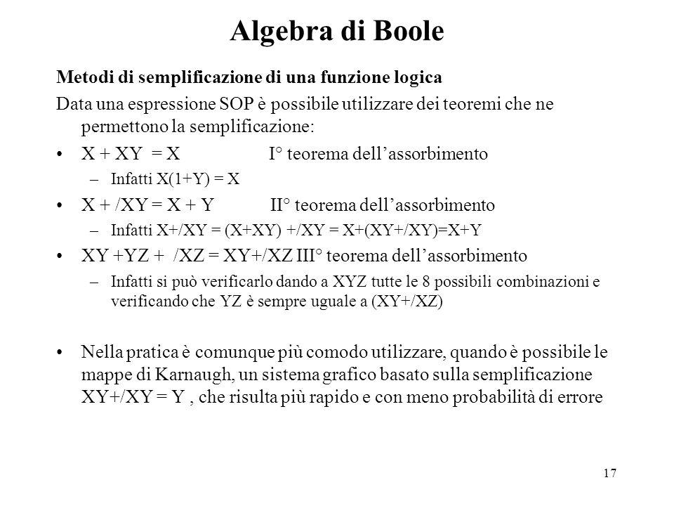 17 Algebra di Boole Metodi di semplificazione di una funzione logica Data una espressione SOP è possibile utilizzare dei teoremi che ne permettono la semplificazione: X + XY = X I° teorema dell'assorbimento –Infatti X(1+Y) = X X + /XY = X + Y II° teorema dell'assorbimento –Infatti X+/XY = (X+XY) +/XY = X+(XY+/XY)=X+Y XY +YZ + /XZ = XY+/XZ III° teorema dell'assorbimento –Infatti si può verificarlo dando a XYZ tutte le 8 possibili combinazioni e verificando che YZ è sempre uguale a (XY+/XZ) Nella pratica è comunque più comodo utilizzare, quando è possibile le mappe di Karnaugh, un sistema grafico basato sulla semplificazione XY+/XY = Y, che risulta più rapido e con meno probabilità di errore