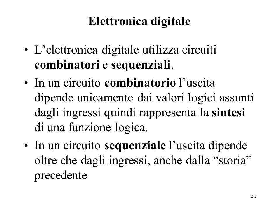 20 Elettronica digitale L'elettronica digitale utilizza circuiti combinatori e sequenziali. In un circuito combinatorio l'uscita dipende unicamente da