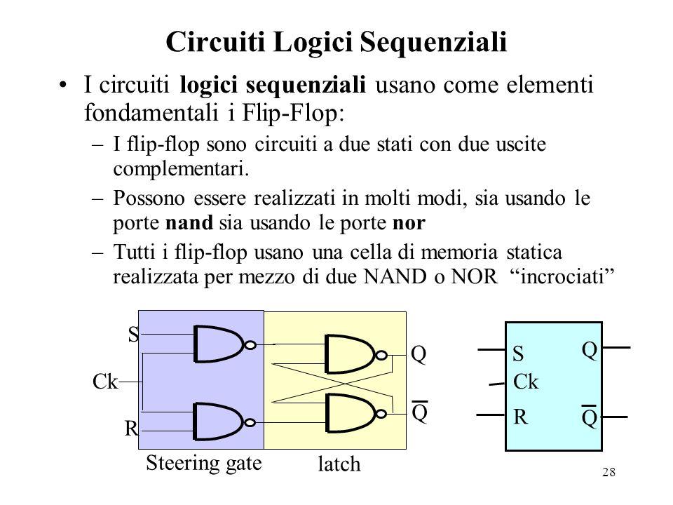 28 Circuiti Logici Sequenziali I circuiti logici sequenziali usano come elementi fondamentali i Flip-Flop: –I flip-flop sono circuiti a due stati con due uscite complementari.